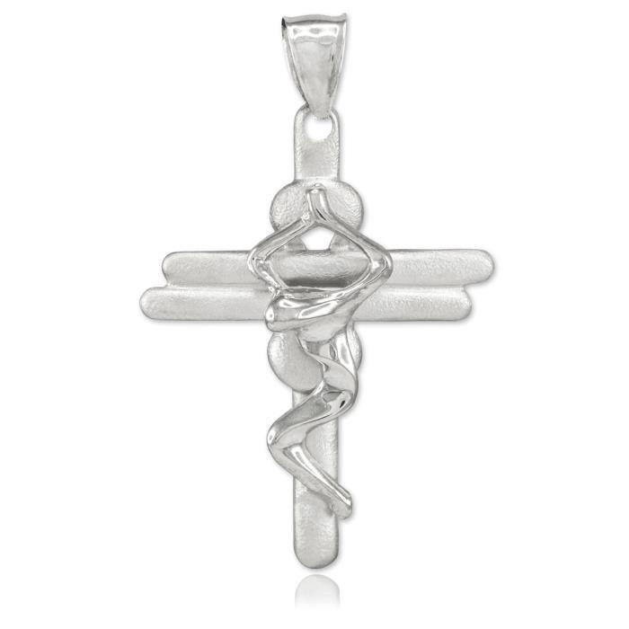 Collier Pendentif10 ct Or Blanc 471/1000 contemporain Crucifix-Croix Collier Pendentif(vient avec une Chaîne de 45 cm)