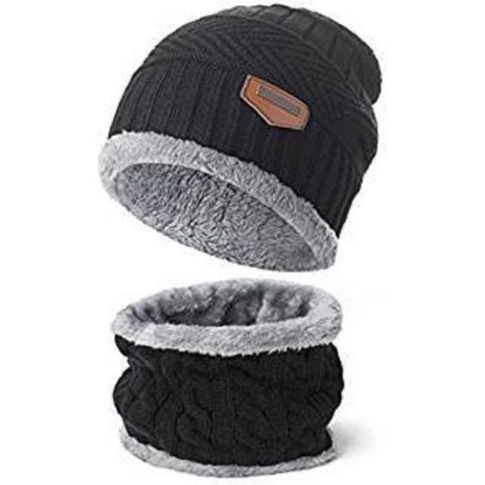 81b0d93ad7e39 2 Pcs : 1 BONNET + 1 TOUR de COU écharpe tricot chaud avec Doublure Polaire  pour Homme garçon acrylique - NOIR