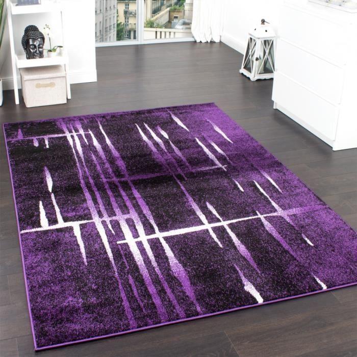 Tapis Design Moderne Poil Court Trendy Violet Crème Moucheté
