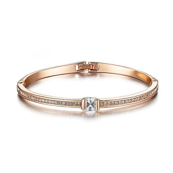 Glamorousky simple, plaqué or rose aidé avec des cristaux blancs d'éléments autrichiens (23790)