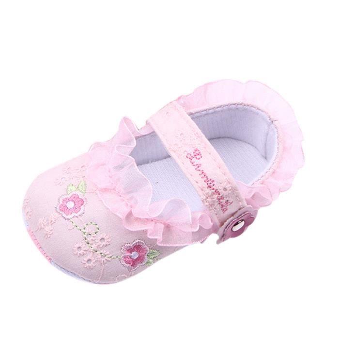 BOTTE Bébé nouveau-né bébé Floral Print Sneaker antidérapant doux Sole Toddler Chaussures@Rose ZwAnz