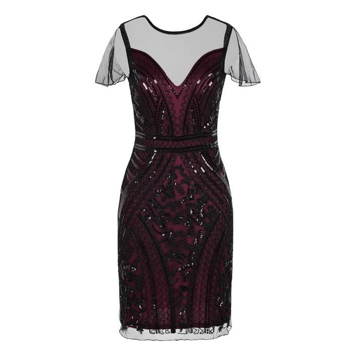 Womens Flapper Dress Sequin Embellished 1920s Cocktail Gatsby Dress 2BCOAQ Taille-36