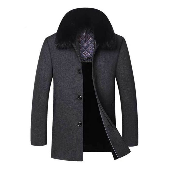 manteau court laine homme col en fausse fourrure pour automne hiver