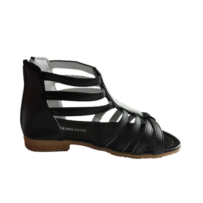 spartiates sandales fille noire avec strass