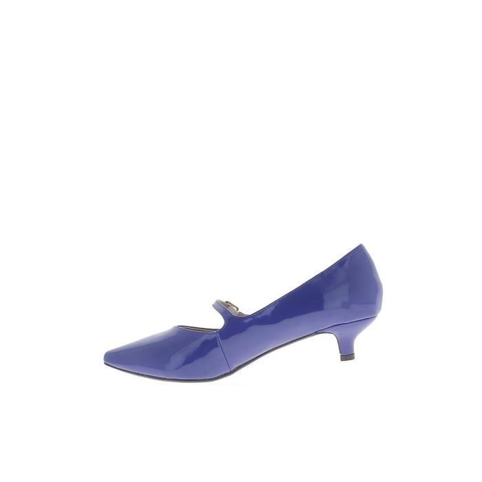 Escarpins grande taille bleus vernis pointus à talon de 4 cm et fine bride