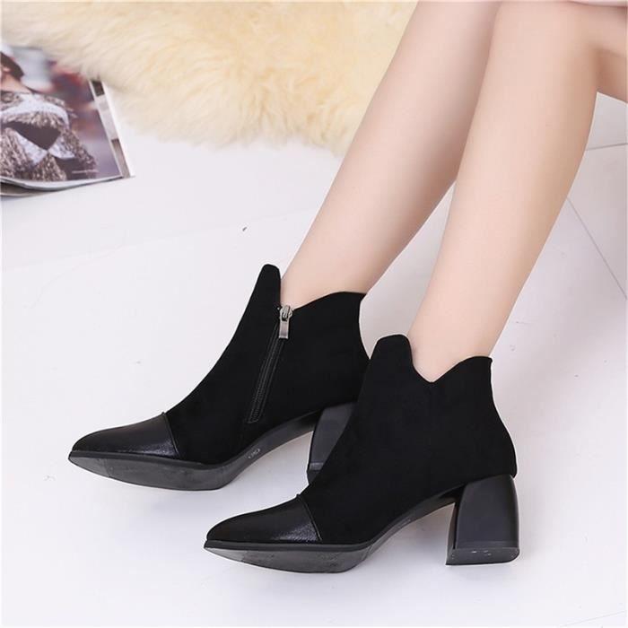 Chaussures à talons hauts escarpins femmes mode flock épais talon loisir 2 couleurs jqHsN6YWP