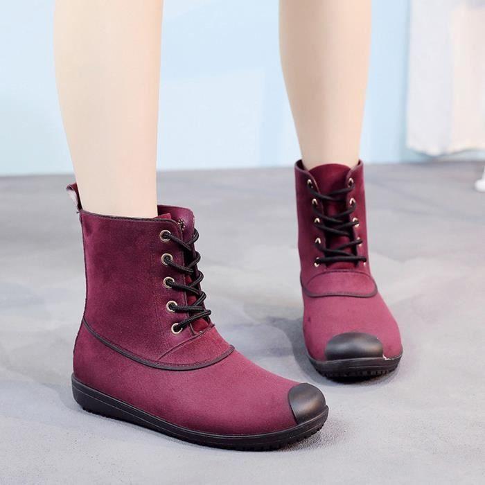 chaussures Low Loisirs Bout Imperméables Tube Middle À Rond Modehall Femmes 5240 De Talons Bottes Pluie OuZkXPi