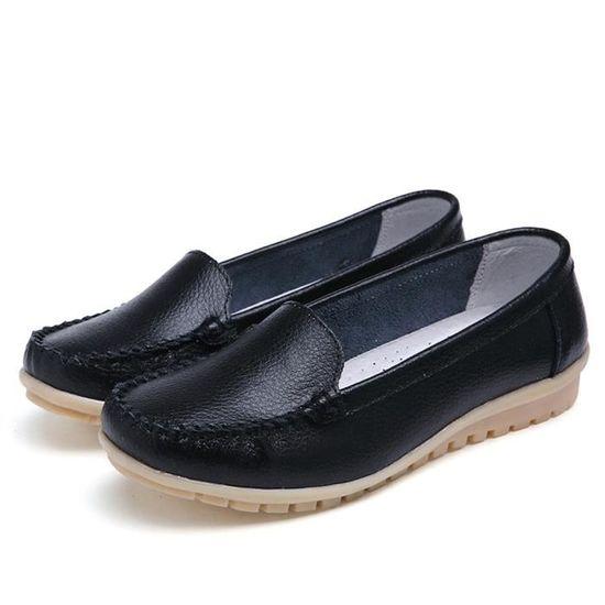 Reservece Reservece Reservece  Femmes Flats Shoes Genuine Leather Shoes Loafers Slip On Shoe Four Seasons Shoes Noir Noir Noir - Achat / Vente slip-on 03b9d6