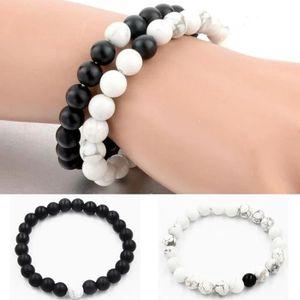 BRACELET , GOURMETTE 2pcs Couple Bracelet Blanc et Noir Perles Chaîne