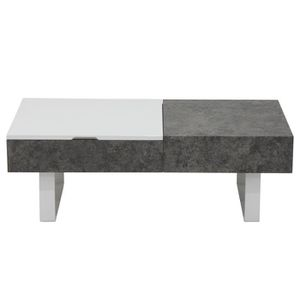 TABLE BASSE Table basse relevable Polly Effet Béton