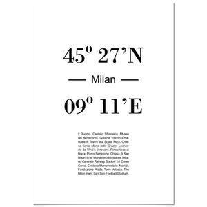AFFICHE - POSTER Panorama® Poster Coucher du Coordonnées de Milan 3