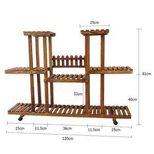 MEUBLE SUPPORT PLANTE  Etagère rangement en bois- Porte-pots en 3 étages