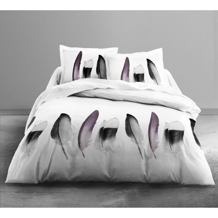 TODAY Parure de couette Enjoy PIUMA 100% coton - 1 housse de couette 220x240 cm + 2 taies d'oreillers 63x63 cm blanc, gris et rose