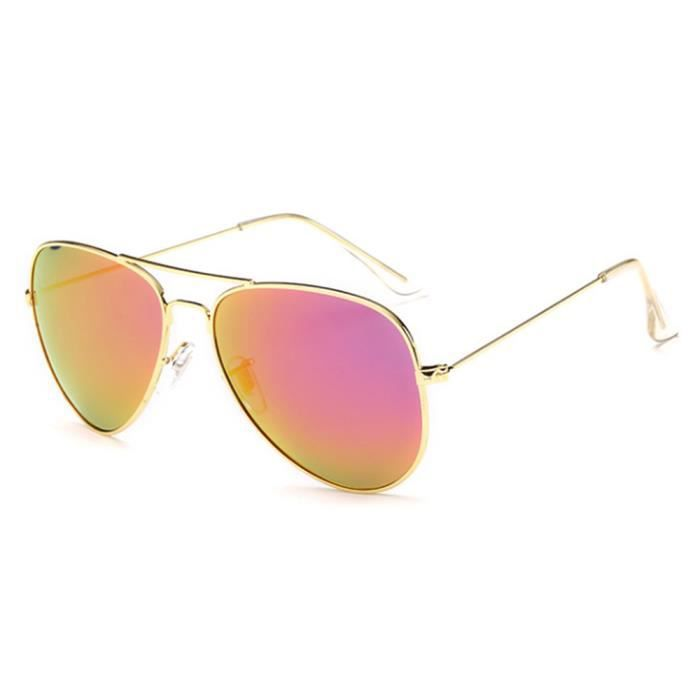 Lunettes de soleil soleil mixte homme et femme polarisées Fashion Grande Cadre sunglasses Métal Cadre Golden/Violet foncé