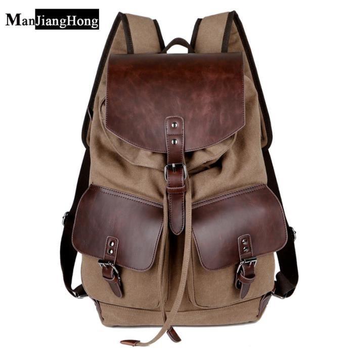 sac à dosHaute qualité Mode Vintage Casual Toile Microfibre cuir Femmes Hommes Sacs pour Lady Rucksack-346