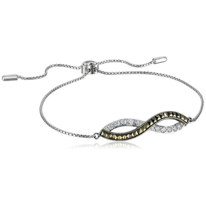 Jewel Panda Argent rhodié Oxydé Ster Saphir Carré Infinity Bracelet