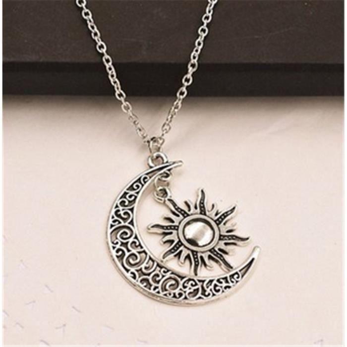 lune et soleil collier lune collier pendentif solaire collier meilleur  cadeau b4aa97c72d82