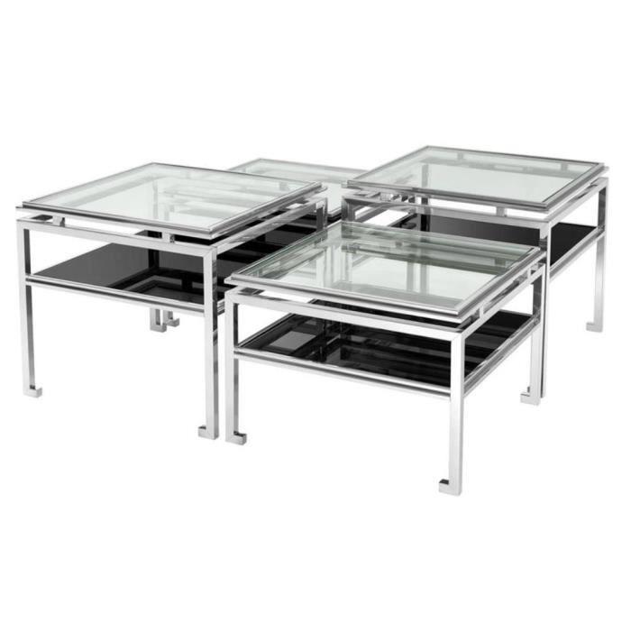 TABLE BASSE Casa Padrino jeu de table basse de luxe de 4 argen