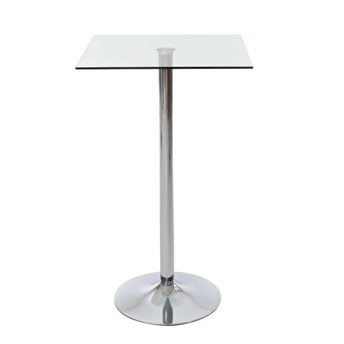 CLP Table haute très stable avec plateau en verre, 60 x 60 cm ...