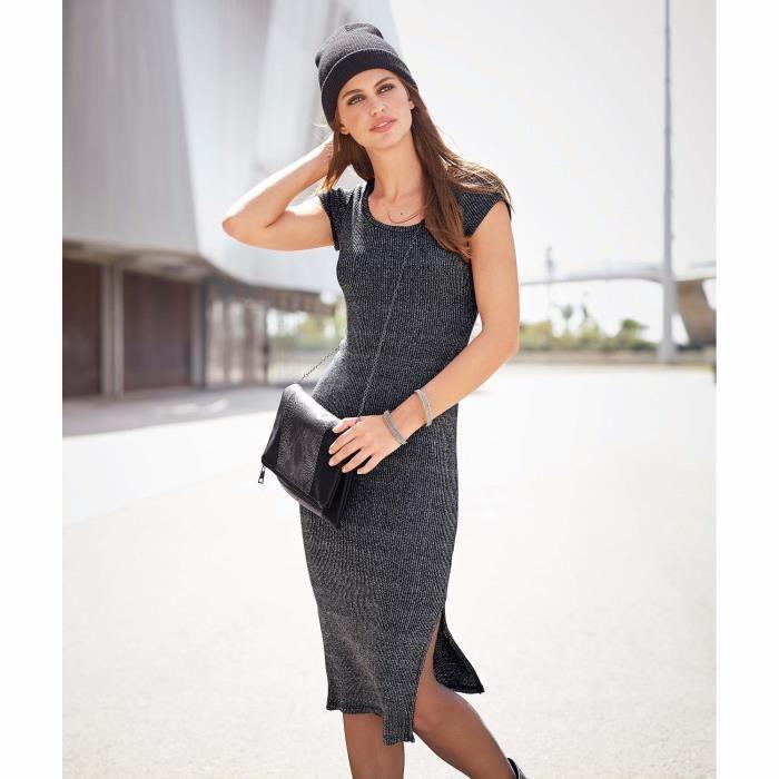 Robe longue manches courtes femme