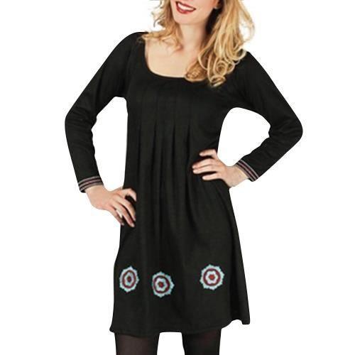 9987c5b5155 Robe courte en coton à manches longues col carré plissé sous poitrine Aller  Simplement RO1229