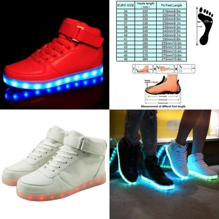 Baskets Chaussures de sport LED Femme Homme Blanc