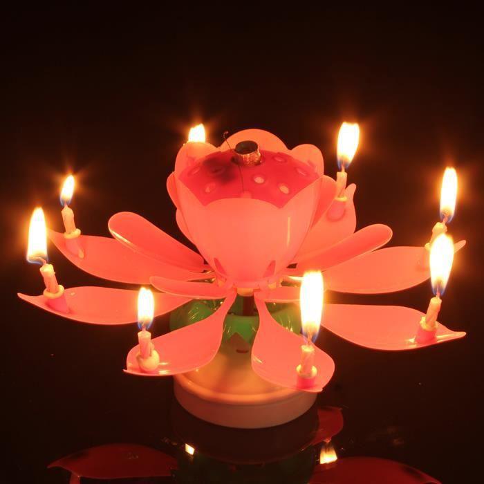 Bougie Anniversaire Fontaine Musicale Double Lotus Rotatif Fleur Gâteau