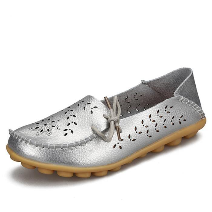 Moccasin femme 2017 ete cuir Nouvelle arrivee femmes Moccasins De Marque De Luxe Qualité Chaussure Plus Taille 44 24xuDwC8rL