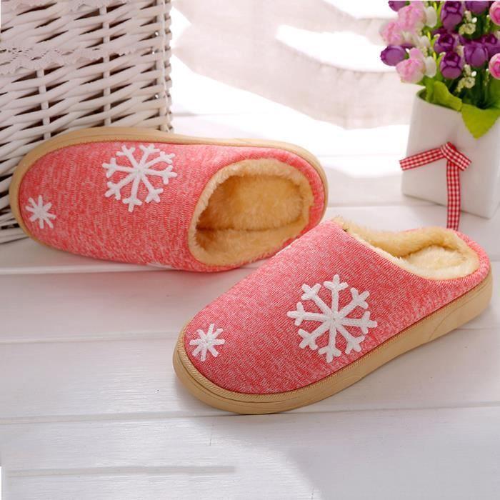 Femmes d'hiver chaussures de maison en intérieur faux fourrure pantoufles chaudes rose wDytSYTG