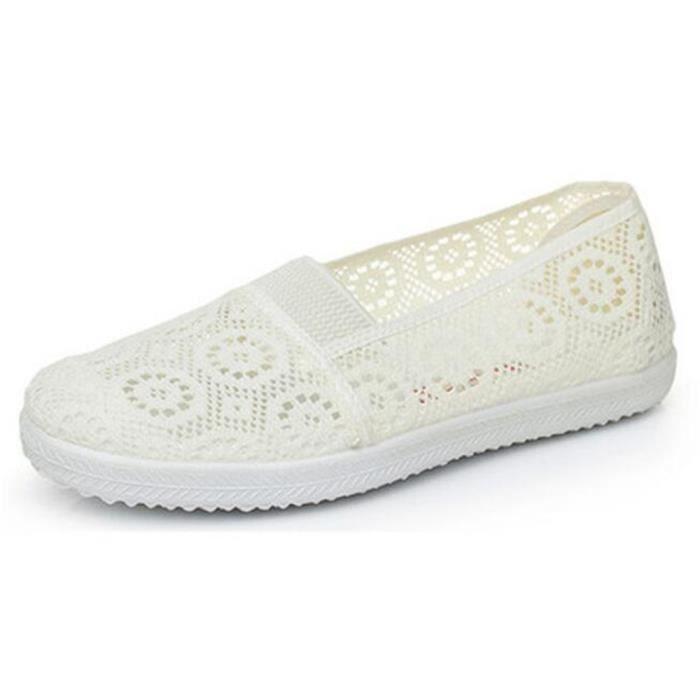 femmes Chaussure Poids Léger Confortable été Mocassin Creux-sculpté Antidérapant Marque De Luxe Nouvelle Mode Plus Taille NdjMPnFz