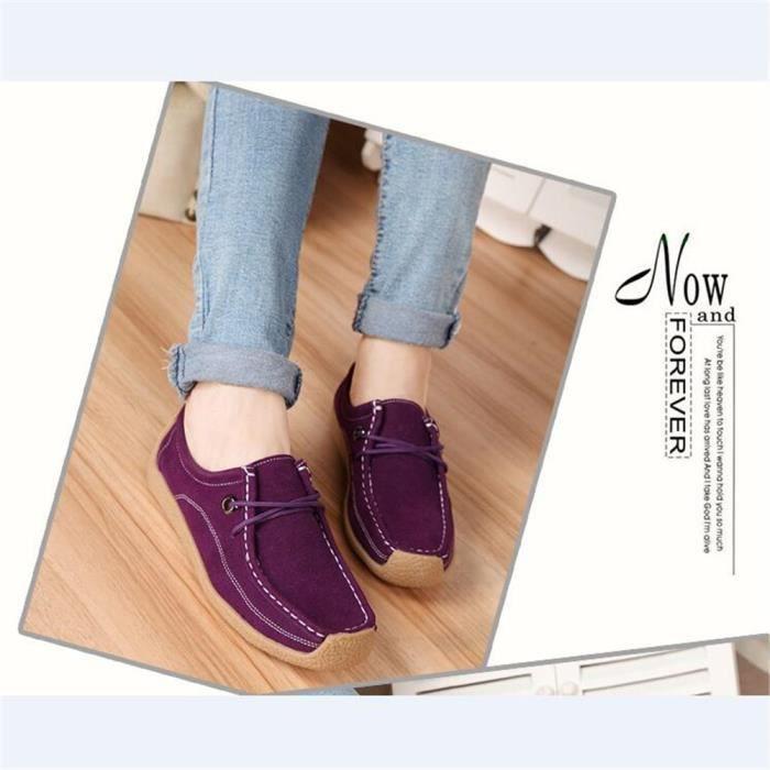 Sneaker Femme Couleur Unie Confortable Loisirs Chaussure Antidérapant Rétro Confortable Classique Sneakers Elégant Léger 35-40