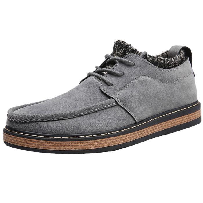 Sneaker suédé homme mode Style britannique Les chaussures de loisirs résistantes à l'usure Bottines hommes Plus Taille bQWUM