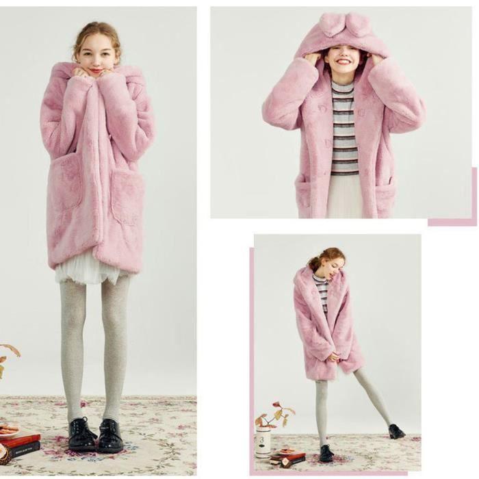 Rwq3316 Long Femmes D'hiver De Hoodies À Lapin En Fourrure Poil Manteau Imitation Oreilles Peluche Des Sq6SaUw