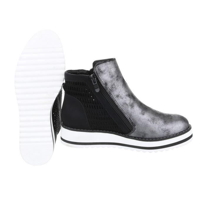 Chaussures femme bottine Bottes noir argent 38