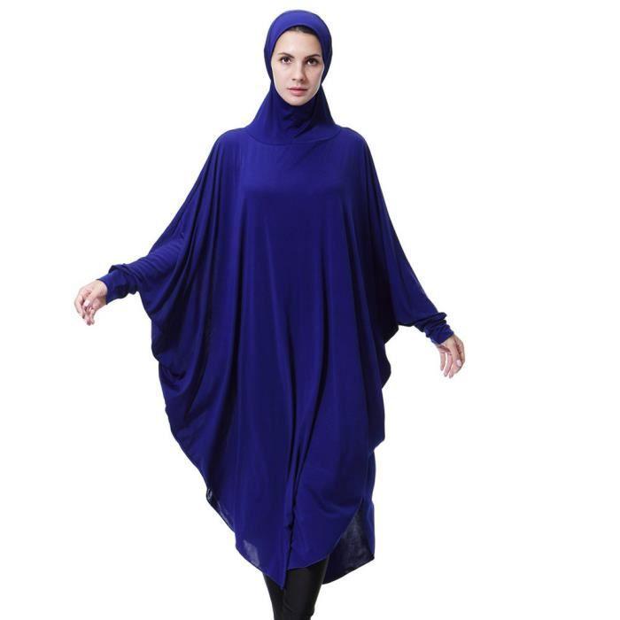 Soild Casual Longues bleu Daily Robes Robe À Lady Femmes Vintage Manches Musulman Fasion qU4Xg