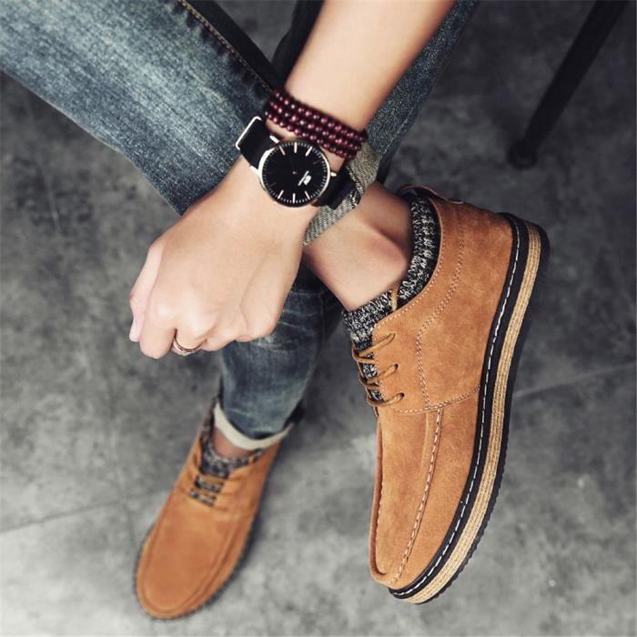 Sneaker suédé homme mode Style britannique Les chaussures de loisirs résistantes à l'usure Bottines hommes Plus Taille XOkP8u2z