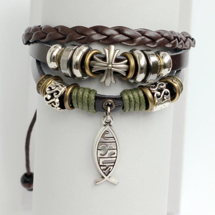 Bracelet en cuir pour femmes Bracelet en cuir Bracelet à breloques Jésus poisson Bracelet Croix Bracelet Anneaux B S86XM