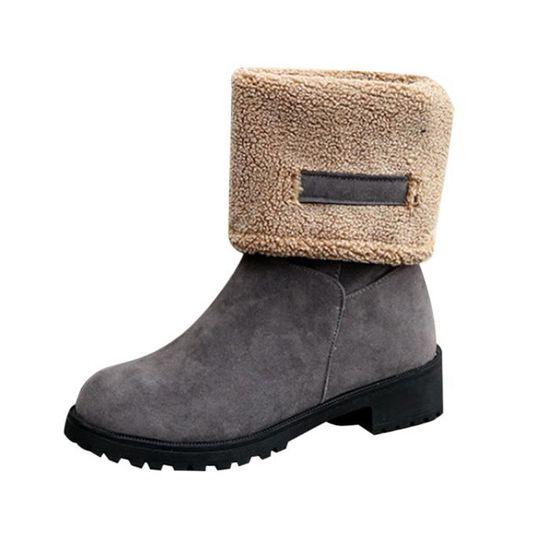 Mode dames femmes bottes plates hiver chaud chaussures de neige@Gris   HEXIAOqin 91 Gris Gris - Achat / Vente botte
