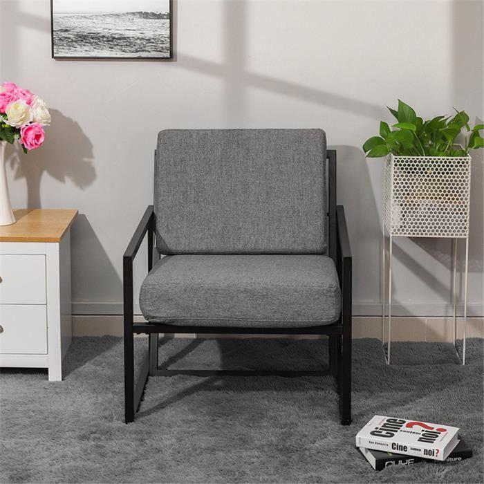 Chaise de jardin en fer forgé fauteuil avec accoudoir - Gris clair - 72.5 X  76 X 78CM