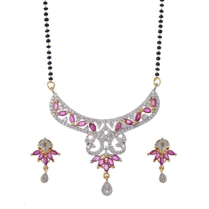 Diamant américain argent et blanc plaqué or des femmes galsutra avec boucles doreilles Set PourMVEFC
