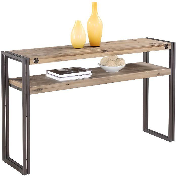 Console d\'appoint style industriel en bois d\'acacia massif brossé et ...
