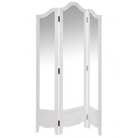 Paravent miroir 3 volets en bois blanc 100x2x175cm j line for Miroir bois blanc