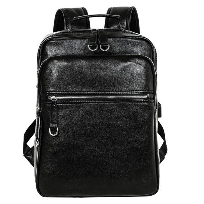 Sac à dos avec trou de charge USB, sac à dos Coofit hommes sac à dos en cuir artificiel Voyage pour hommes femmes (noir)