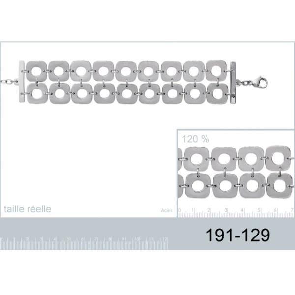 Bracelet 2 rangs avec carré acier style année 70
