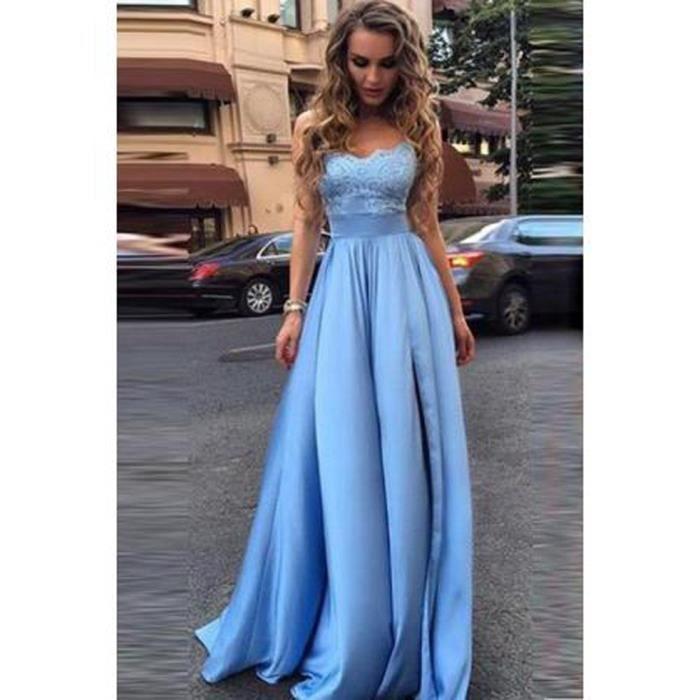 262228f0ac23 Robe de Soirée Cocktail Longue Bleu Ciel Taille Haute Bateau épaules  Dénuées Sans Manche Princesse en Satin Pour Mariage
