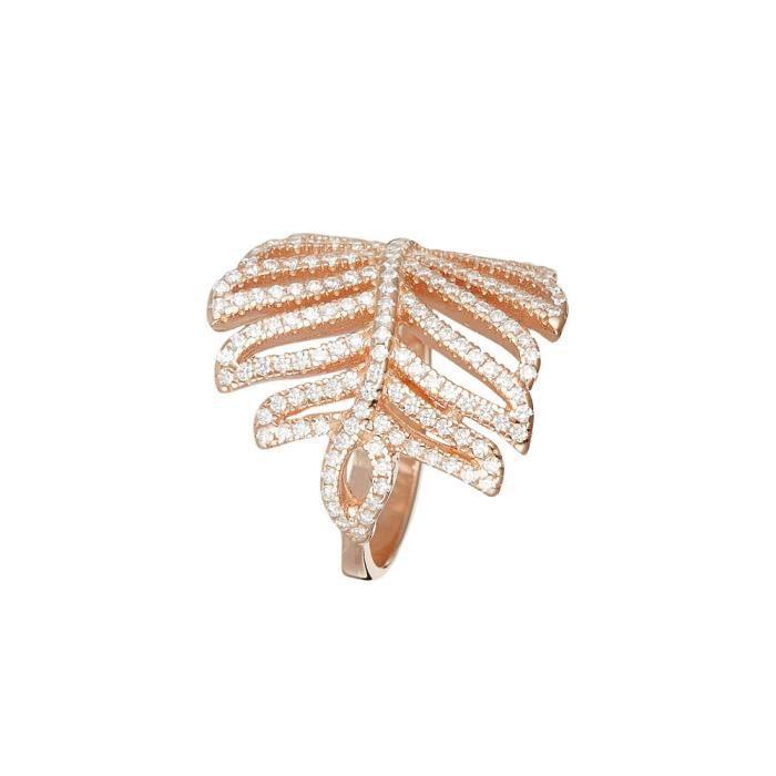 Mes-bijoux.fr - Bague Femme Feuille Eclat en Vermeil Rose - 8FB0112rgv