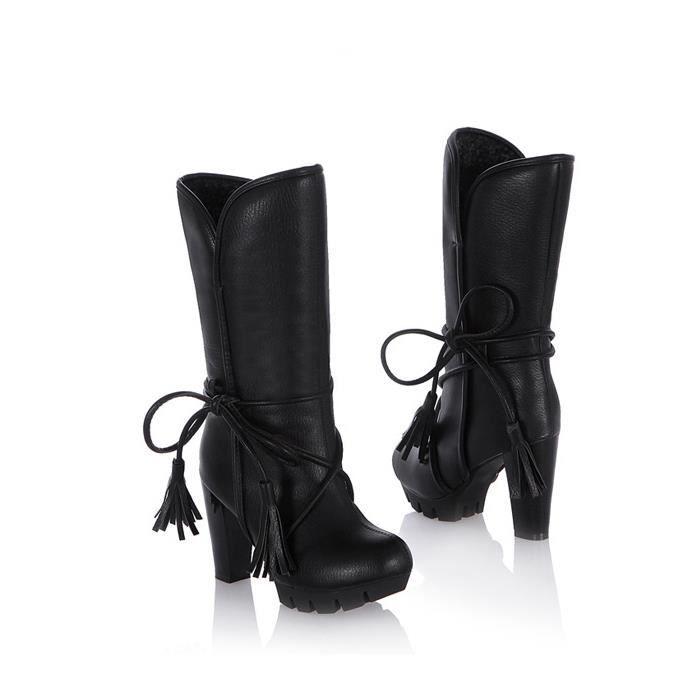 GLAM®automne - hiver femmes bottes à talons hauts talons femmes épaisses bottes pour dames
