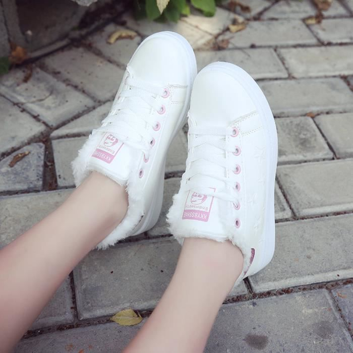 Femmes chaussures planche chaussures petites chaussures fourrées blanches sangle chaussures étudiants Sneakers Casual Shoes pure