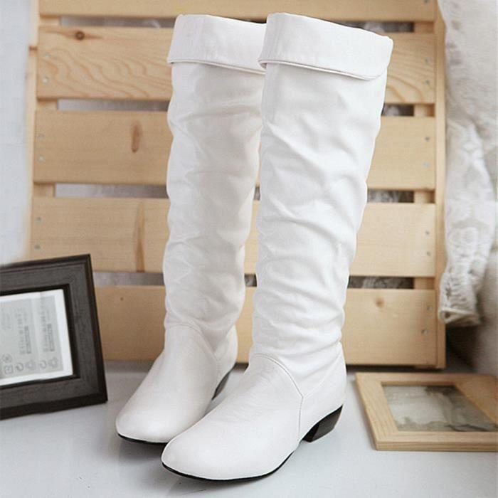 Napoulen®Femmes Bottes hiverhaute tube talons plats d'équitation populaire Blanc-SJF71117737WH