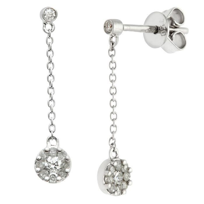 Revoni - Boucles d'oreilles pendantes rondes en or blanc 18 carats et diamants 0,25 carat